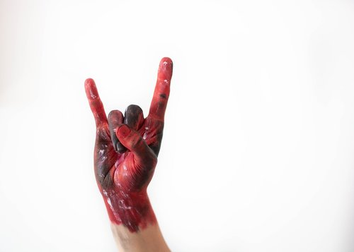 rock and roll  red  hand