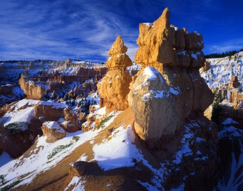 rock formation hoodoo snow