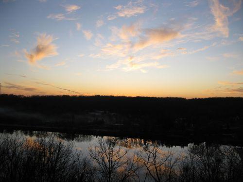 rock river fall sunset