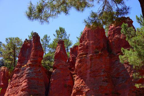 rock towers ocher rocks rock