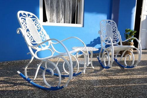 rocking chair blue white