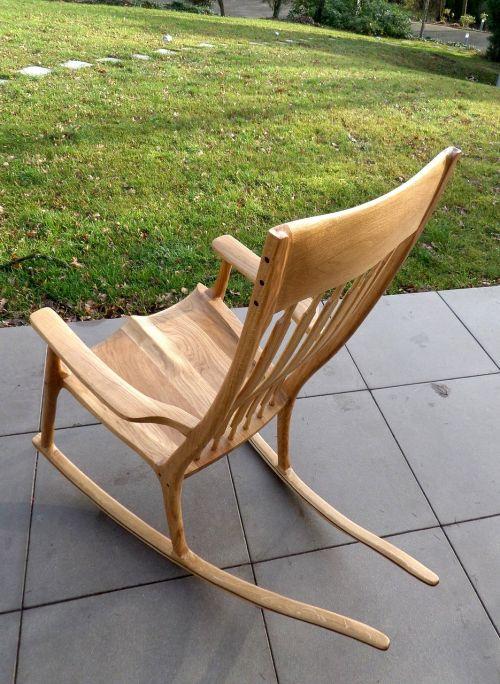 rocking chair walnut seat