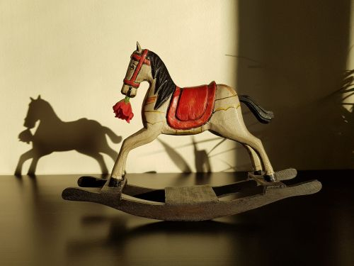 rocking horse toy statuette