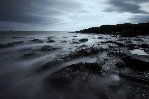 rocks sea long exposure