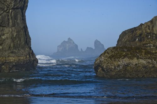 akmenys, vandenynas, vanduo, turkis, vis dar, menas, vaizdingas, meno, perdavimas, oregonas, uolos ir vanduo
