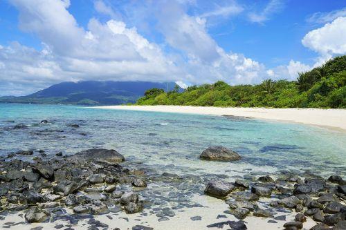rocky beach natuna indonesia deserted island