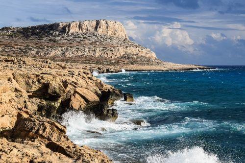 uolos pakrantė,formavimas,Rokas,erozija,gamta,jūra,kraštovaizdis,pakrantė,bangos,debesys,ruduo,cavo greko,Kipras