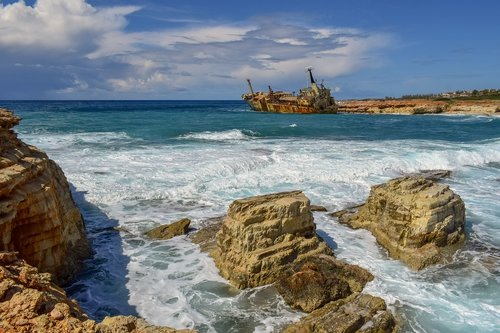 rocky coast  sea  shipwreck