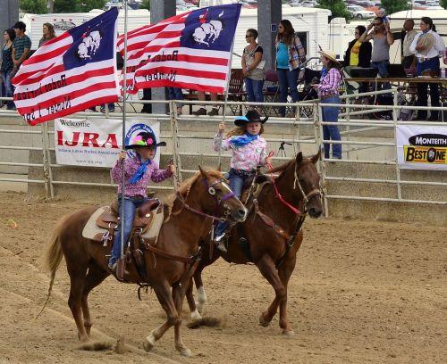 rodeo horses flag