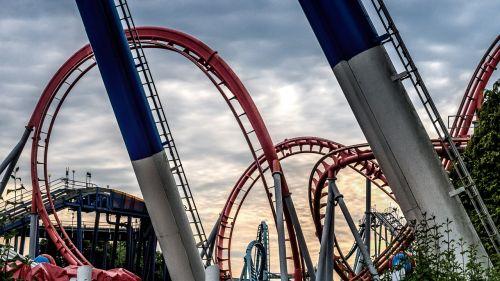roller coaster dusk fun