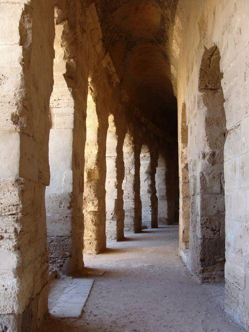 roman ruins ancient corridor