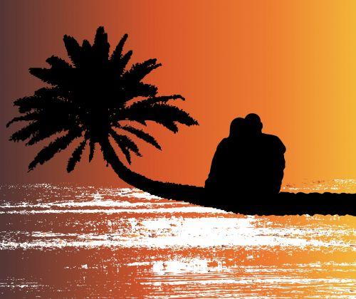 Romantic Couple Sunset Beach