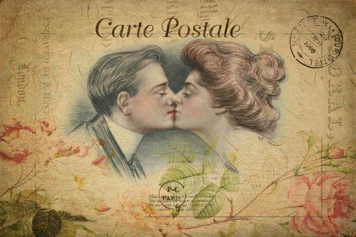 Romantic Couple Vintage Postcard