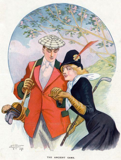 Romantic Golf Couple Poster