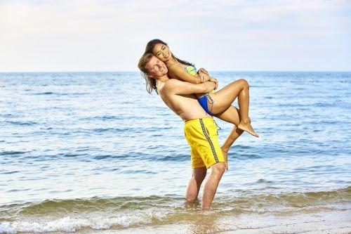 bikini couple in love