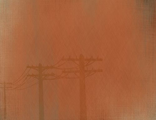 Red Brown Electricity Poles