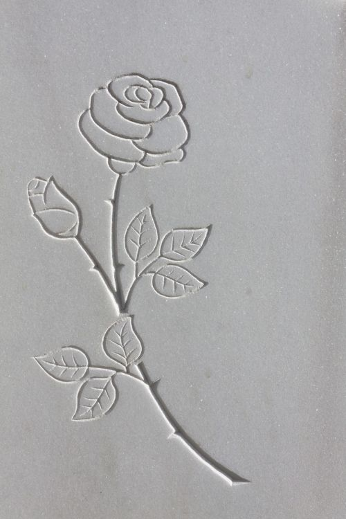 rose thorns rock carving