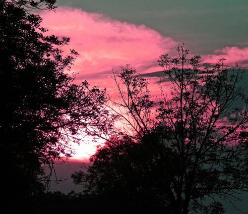 dangus, debesis, saulėlydis, švytėjimas, rožinis, tamsintas, rožinis rožinis saulėlydis