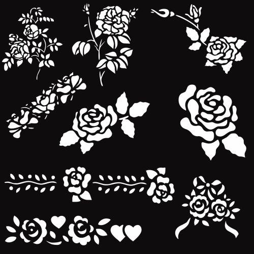 nustatyti, balta, rožės, grupė, juoda, fonas, formos, menas, deko, dekoratyvinis, rožės rožės