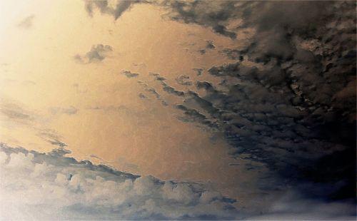 dangus, rožinė & nbsp, švyti, debesis, raštuotas, rožinis dangus per debesies modelius