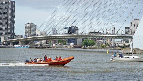 rotterdam  erasmus bridge  boat