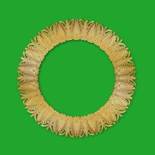 round frame tracery gold