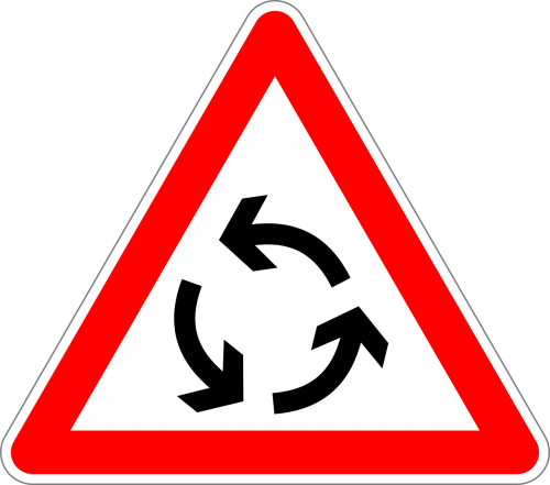 roundabout traffic sign sign