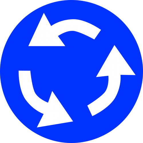roundabout traffic ahead