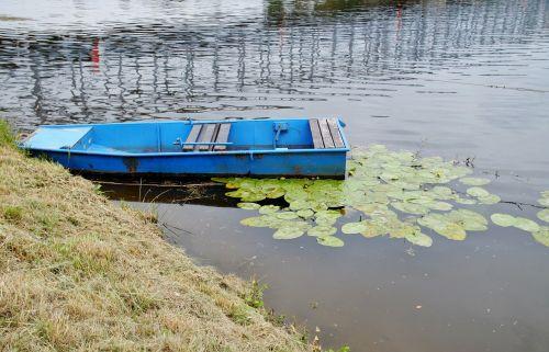 rowboat blue boat