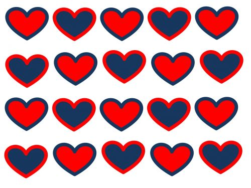 Rows Of Americana Hearts Background