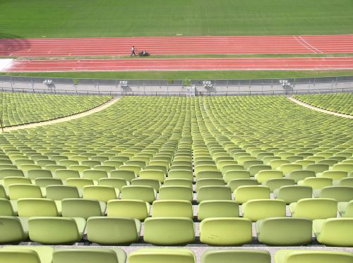 rows of chairs rows of seats oympiastadion