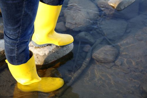 rubber boots river water