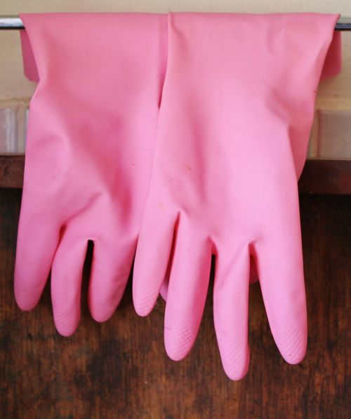 rubber gloves gloves pink