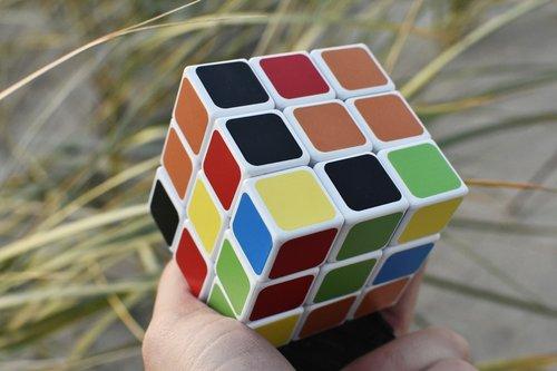 rubik cube  hand  outside