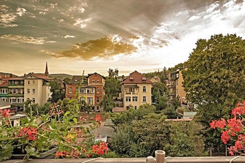 rudolstadt  sunset in the evening  row of houses in the countryside
