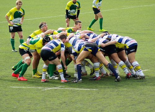 rugby melee players