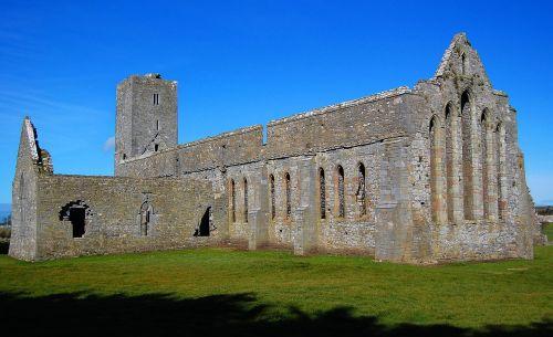 ruined abbey landscape ruined church