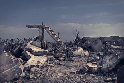 ruins  city  ladder
