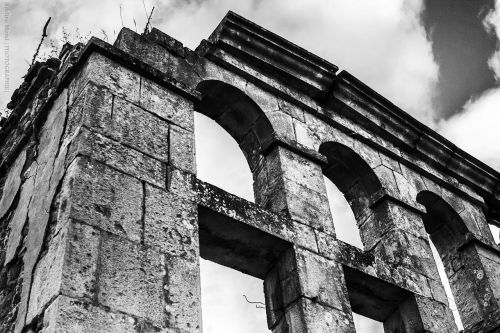 ruins antique black and white