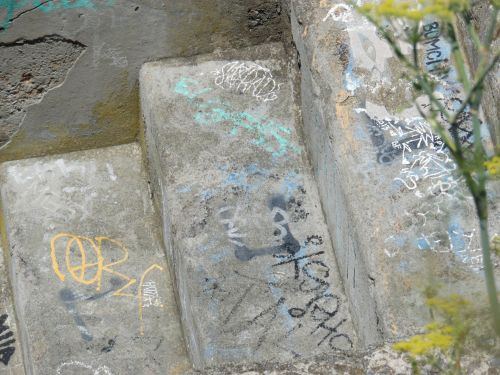 Ruins Steps With Graffiti