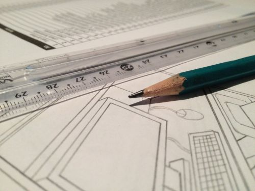 rule technical drawing pencil