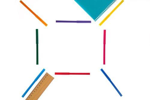 ruler  pens  color