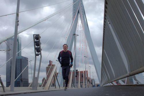 running erasmus bridge man