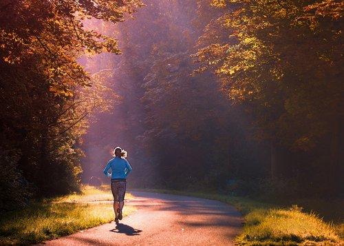 running  woman  morning