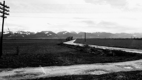 rural  mountain  black and white