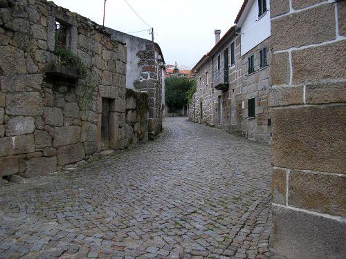 rural village houses stone street