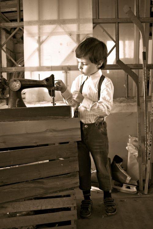 rustic boy sewing machine