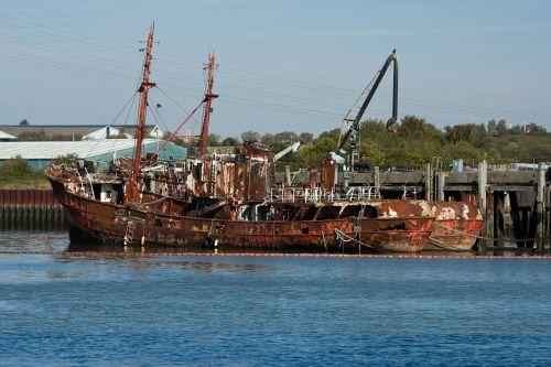rusting hulks hulks oil boom