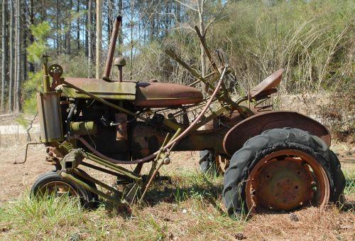 Senovinis, senas, rusvas, vintage, traktorius, ūkis, gamta, kraštovaizdis, gabenimas, Junked, ne & nbsp, dirba, ūkininkavimas, rusvas senas traktorius
