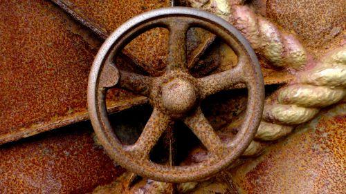 Rusty Submarine Hatch Door Wheel